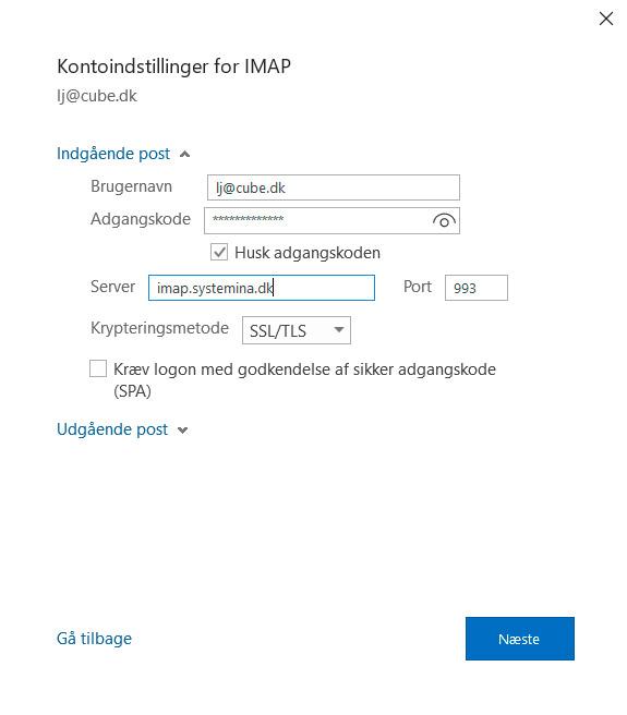 Opsætning af mail til samme indgående server